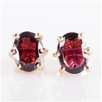 14k Yellow Gold Oval Cut Pyrope Garnet Solitaire Stud Earrings 3.0ctw