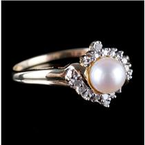 10k Yellow Gold Cultured Freshwater Pearl Ring W/ Diamond Accents .09ctw