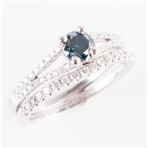 14k White Gold Round Cut Blue Diamond Engagement / Wedding Ring Set .77ctw