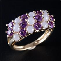 14k Yellow Gold Round Cabochon Cut Purple Jade & Amethyst Cocktail Ring 2.40ctw