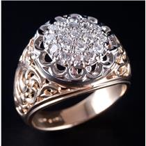 14k Yellow & White Gold Two-Tone Round Cut Diamond Cluster Cocktail Ring .95ctw
