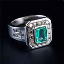 14k White Gold Emerald Cut Emerald & Round Cut Diamond Cocktail Ring 2.72ctw