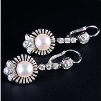 18k White Gold Freshwater Cultured Pearl & Diamond Dangle Earrings .52ctw