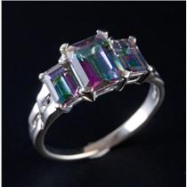 10k White Gold Emerald Cut Mystic Topaz Three-Stone Cocktail Ring 3.50ctw