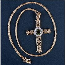 "14k Yellow Gold Green Tourmaline & Diamond Cross Pendant W/ 18"" Chain .74ctw"