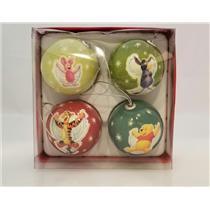 Disney Four Ornament Ball Set Winnie the Pooh, Piglet, Eeyore & Tigger #2311-7DB