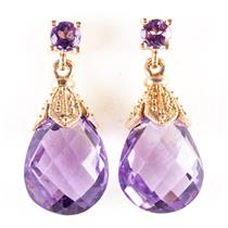 14k Yellow Gold Briolette & Round Cut Amethyst Dangle Earrings 4.20ctw