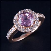 14k Rose Gold Round Cut Pink Topaz & White Topaz Halo Engagement Ring 3.40ctw