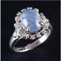 Vintage 1930's 18k White Gold Natural Star Sapphire & Diamond Ring 2.58ctw