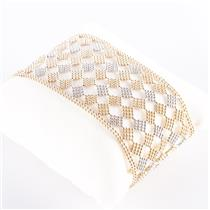 "14k Yellow & White Two-Tone Wide Cuff Bracelet 7"" Length 1.5"" Width 31.5g"