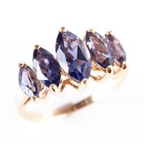 10k Yellow Gold Marquise Cut Iolite Graduated Cocktail Ring 2.19ctw