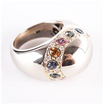 14k White & Yellow Gold Oval Cut Sapphire & Diamond Dome Style Ring 3.24ctw