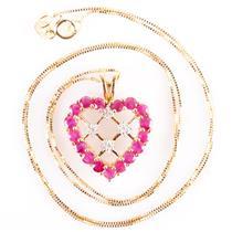 "10k Yellow Gold Round Cut Ruby & Diamond Heart Pendant W/ 18"" Chain 1.59ctw"