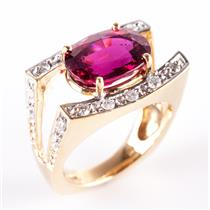 14k Yellow Gold Rubellite Tourmaline Cocktail Ring W/ Diamond Accents 4.04ctw