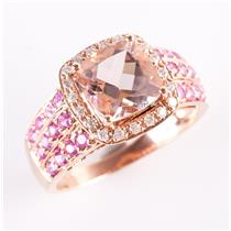 14k Rose Gold Morganite & Sapphire & Diamond Halo Style Cocktail Ring 4.12ctw