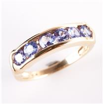 14k Yellow Gold Round Cut Tanzanite Channel Set Band / Ring 1.14ctw