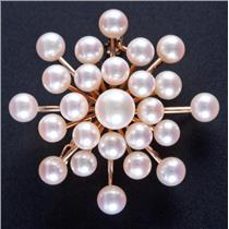 Vintage 1950's 14k Yellow Gold Akoya Cultured Saltwater Pearl Pin / Brooch 8.0g