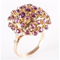 Vintage 1940's 14k Yellow Gold Round Cut Ruby Dome Style Cocktail Ring 3.27ctw