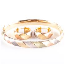 14k Quad Color Gold Italian Hinged Bangle Bracelet & Hoop Earring Set 9.4g
