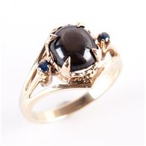 Vintage 1950's 14k Yellow Gold Oval Cut Star Sapphire & Sapphire Ring 1.54ctw