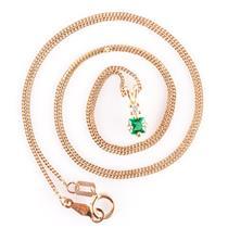 "14k Yellow Gold Step Square Cut Emerald & Diamond Pendant W/ 18.5"" Chain .25ctw"