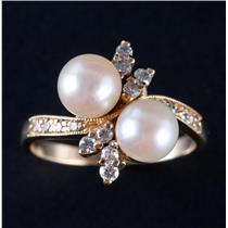 Vintage 1950's 14k Yellow Gold Cultured Pearl & Diamond Cocktail Ring .22ctw