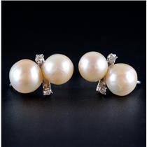 14k White Gold Freshwater Cultured Pearl & Diamond Clip On Screw Back Earrings