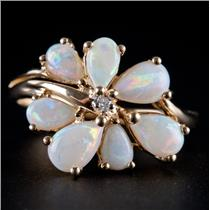 14k Yellow Gold Pear Cabochon Cut Opal & Diamond Floral Style Ring .76ctw
