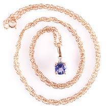 "14k Rose Gold Round Cut Tanzanite & Diamond Pendant W/ 18"" Chain .57ctw"