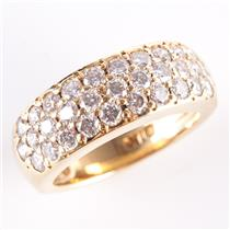 18k Yellow Gold Round Brilliant Cut Diamond Pave' Style Cocktail Ring 1.70ctw