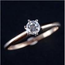 14k Yellow & White Gold Round Cut Diamond Solitaire Engagement Ring .22ct