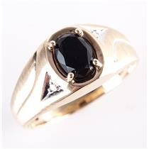 Men's 10k Yellow Gold Oval Cut Onyx Solitaire Ring W/ Diamond Accents 1.13ctw