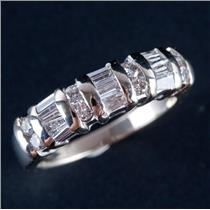 14k White Gold Round & Baguette Cut Diamond Wedding / Anniversary Ring .60ctw