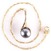 """14k Yellow Gold Round Cut Cultured Tahitian Pearl Solitaire Pendant W/ 16"""" Chain"""