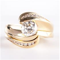 18k Yellow Gold Diamond Solitaire Engagement Wedding Ring Set W/ Accents 1.28ctw