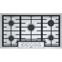 """Bosch 800 Series 36"""" 5 Sealed Burners LED Lights Gas SS Cooktop NGM8656UC"""