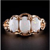 10k Yellow Gold Three-Stone Oval Cabochon Cut White Opal Ring .75ctw