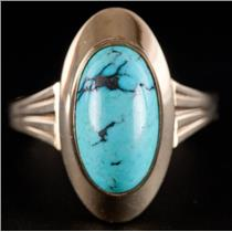 14k Yellow Gold Oval Cabochon Cut Persian Turquoise Solitaire Cocktail Ring 4.9g