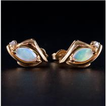 14k Yellow Gold Marquise Cabochon Cut Opal & Diamond Stud Earrings .68ctw