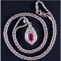 """18k / 14k White Gold Oval Cut Ruby & Diamond Pendant W/ 16"""" Chain .93ctw"""