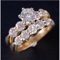 18k Yellow Gold Diamond Solitaire Engagement Wedding Ring Set W/ Accents 2.01ctw