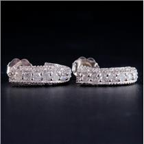 14k White Gold Round Cut Diamond Huggie Earrings W/ Butterfly Backs .44ctw