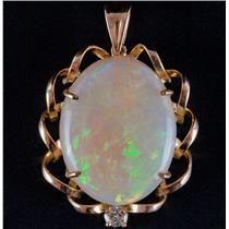18k Yellow Gold Oval Cabochon Cut Opal Solitaire Pendant W/ Diamond 24.15ctw