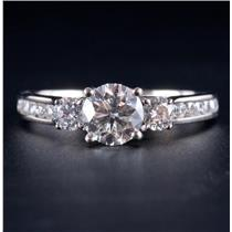 14k White Gold Round Cut Diamond Three-Stone Engagement Ring W/ Accents 1.57ctw