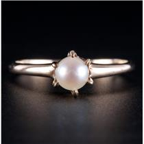 10k Yellow Gold Cultured Freshwater Pearl Solitaire Ring 1.2g Size 6