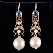 14k Yellow Gold Cultured Pearl / Seed Pearl & Topaz Dangle Earrings .70ctw