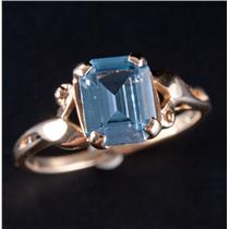Vintage 1960's 10k Yellow Gold Emerald Cut Blue Topaz Solitaire Ring 1.45ct