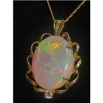 18k Yellow Gold Oval Cabochon Cut Opal Solitaire Pendant W/ Diamond 24.15ctw