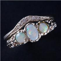 14k White Gold Cabochon Cut Opal & Diamond Engagement Wedding Ring Set .59ctw