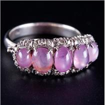 Vintage 1940's 18k White Gold Natural Pink Star Sapphire & Diamond Ring 3.30ctw